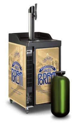 Carlsberg Draught Master Modular su trolley per birra Angelo Poretti in fusti Pet da 20 litri.