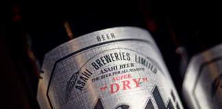 L'etichetta di Asahi Super Dry.