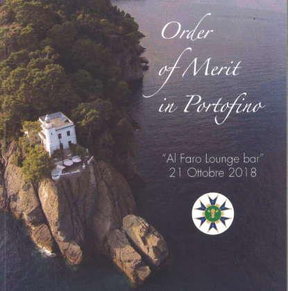 La locandina del premio Order of Merit in Portofino consegnato al Faro Lounge Bar.