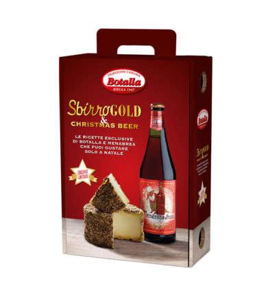 Confezione Sbirro Gold con Menabrea Christmas Beer e formaggio Sbirro Botalla