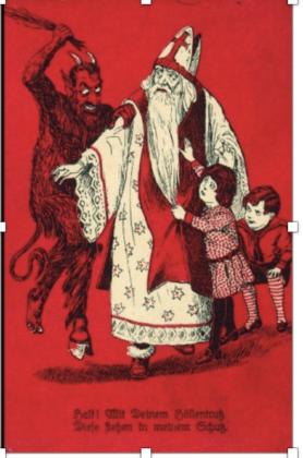 Krampus, cartolina votiva per essere difesi da San Nicola