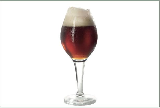 Calice a tulipano panciuto, indicato per birre belghe alla frutta (kriek).