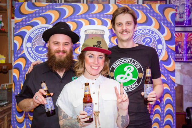 Il team Brooklyn Brewery: Tommaso Locatelli, brand ambassador; Gabe Barry, education manager Europe; Luca Boschi, brand manager.