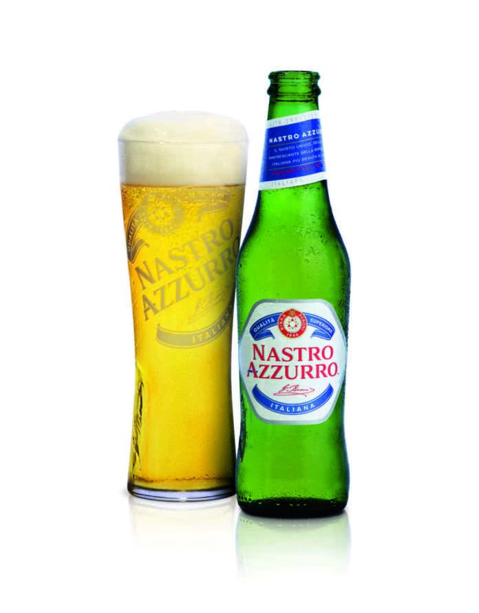 Nuovo disegno per bottiglia e bicchiere Nastro Azzurro