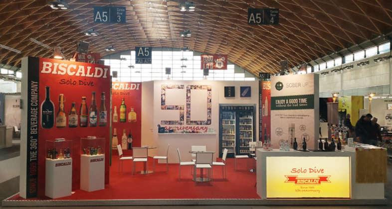 Stand per i 50 anni della Biscaldi a Beer Attraction 2019 di RiminiFiera