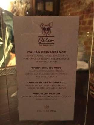 Menu cocktail di Mario Farulla per serata Rinaldi 1957 al cellar bar Oblio di Milano