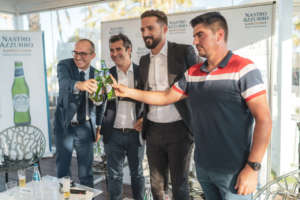 Brindisi per Nastro Azzurro Sardegna con il sindaco Paolo Truzzu, i manager Federico Sannella e Dario Giulitti, il produttore Francesco Matta