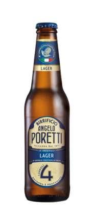 """4 Luppoli Lager Birrificio Angelo Poretti con il nuovo collarino """"4° luppolo coltivato in Italia coltivato in Italia""""."""