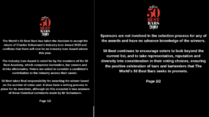 Il comunicato ufficiale dei The World's 50 Best Bars