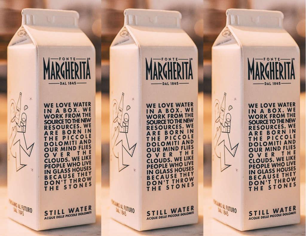 Un pack in cartone riciclabile per Acqua Fonte Margherita