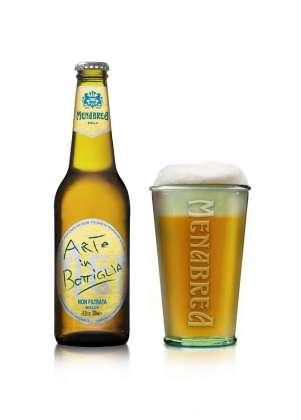 Birra Menabrea Non Filtrata Arte In Bottiglia in bottiglia 33cl e relativo bicchiere